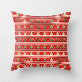 Pixeled Christmas Tree On Red Christmas Pattern Throw Pillow