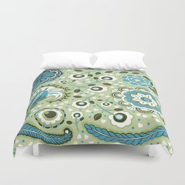 Aqua and green Paisley Flowers - by Jezli Pacheco Duvet Cover