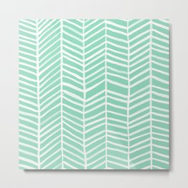 Herringbone – Mint & White Palette Metal Print