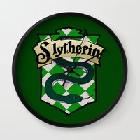 slytherin Wall Clocks featuring Slytherin Crest by AriesNamarie
