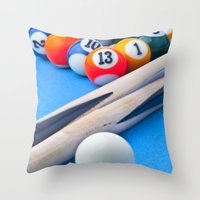 gaming Throw Pillows featuring Gaming Table by Valerie Paterson