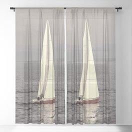 Sailing boat on the lake Sheer Curtain