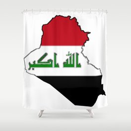 Iraq Map with Iraqi Flag Shower Curtain