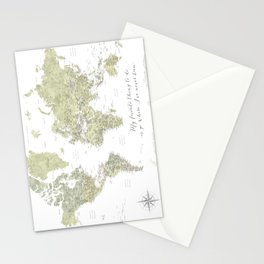 Where I've never been detailed world map in moss green Stationery Cards