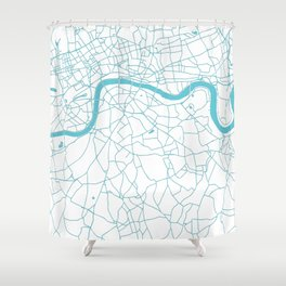 London White on Turquoise Street Map Shower Curtain
