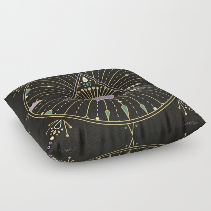 Evil Eye Mandala – Black Floor Pillow