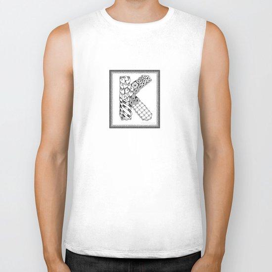 Zentangle K Monogram Alphabet Illustration Biker Tank