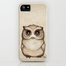 """""""The Little Owl"""" by Amber Marine ~ Graphite & Ink Illustration, (Copyright 2016) iPhone Case"""