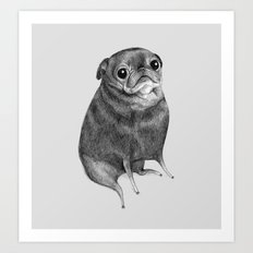 Sweet Black Pug Art Print