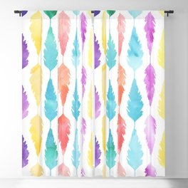 Artistic pink teal watercolor modern feathers Blackout Curtain