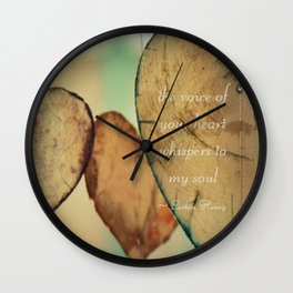 The Voice Of Your Heart Whispers To My Soul - Wind Chimes - Rustic - Wedding - Valentine's Day Wall Clock