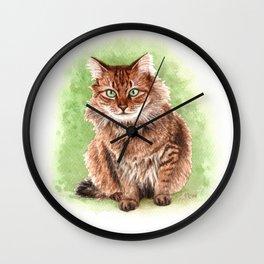 Somali cat portrait Wall Clock