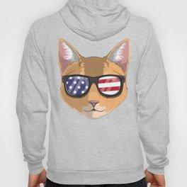 Patriotic Abyssinian Cat Kitty Merica American Flag Hoody