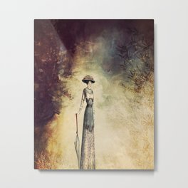 VINTAGE FASHION LADY IN ABSTRACT FOREST Metal Print