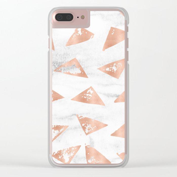 Boho Geometric Rose Gold Marble Clear iPhone Case