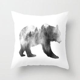 Bear Double Exposure Surreal Wildlife Animal Animals Wilderness Throw Pillow