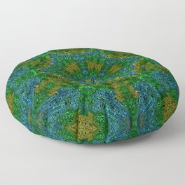 Yellow Green and Blue Kaleidoscope Floor Pillow
