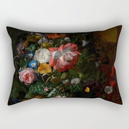 """Rachel Ruysch """"Roses, Convolvulus, Poppies, and Other Flowers in an Urn on a Stone Ledge"""" Rectangular Pillow"""