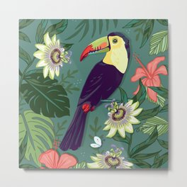 Toucan and Passion Flowers Metal Print