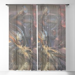 Amazing Honorably Fairytale Soldier Battle Wrestling Wyvern Sheer Curtain