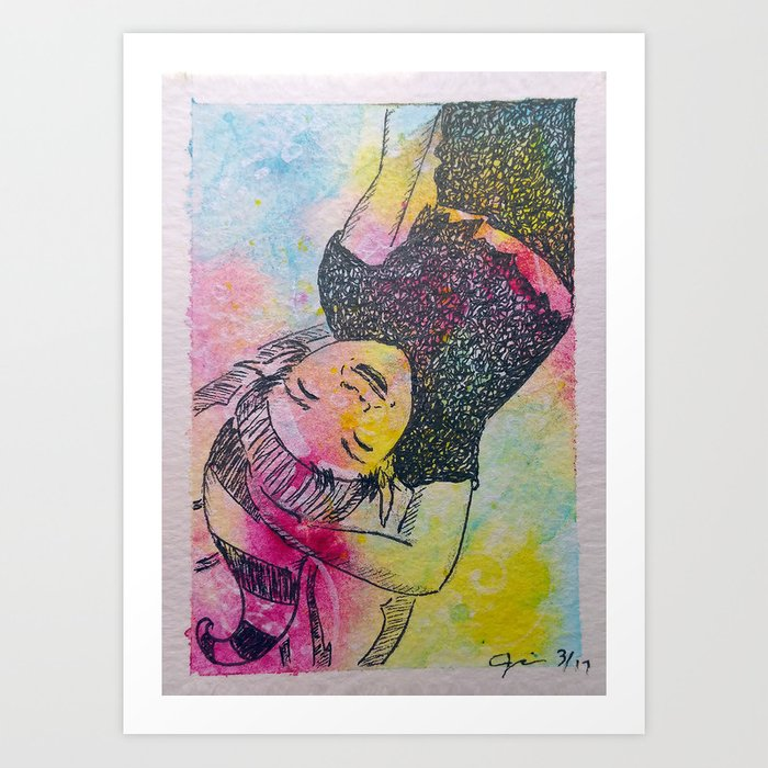 Dropping In To Say Hi ( Upside Down Fairy ) Art Print