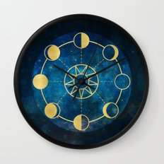 Gold Moon Phases Sun Stars Night Sky Navy Blue Wall Clock