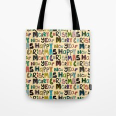 cream merry christmas and happy new year Tote Bag