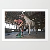 the art of horse shoes making 4 Art Print