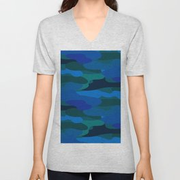 Camo-licious Collection: Blue Hawaiian Camouflage Pattern Unisex V-Neck
