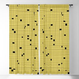 Yellow and Black Grid - Missing Pieces Blackout Curtain