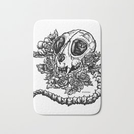 skeleton cat Bath Mat