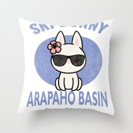 Arapaho Basin Colorado Ski Bunny Distressed Print for Skiing Vacation Throw Pillow