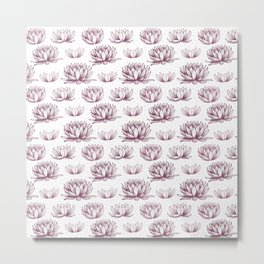 Handdrawn lotus pattern design Metal Print