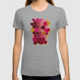 Hexagon Abstract Pink_Olive T-shirt