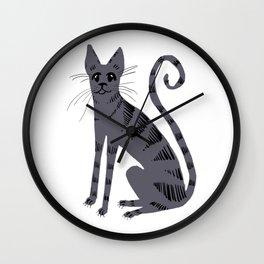 Grey Tabby Cat Wall Clock