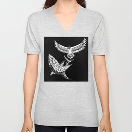 The shark and the eagle back in black Unisex V-Neck