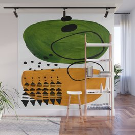 Modern Mid Century Fun Colorful Abstract Minimalist Painting Olive Green Yellow Ochre Buns Wall Mural