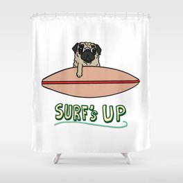 Surf's Up Pug Shower Curtain
