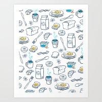 breakfast Art Prints featuring BreakfasT by Ceren Aksu Dikenci