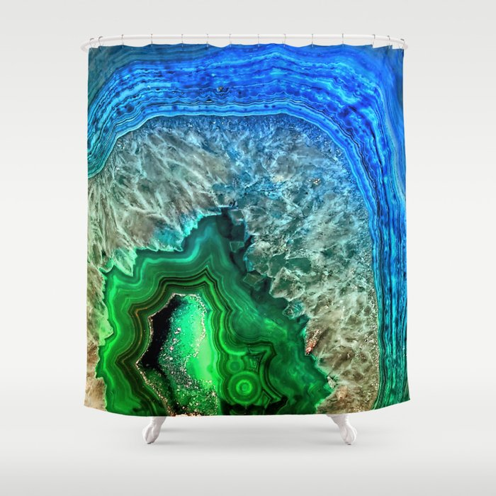 Turquoise Green Agate Mineral Gemstone Shower Curtain