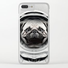 Puggly Pawstrong Astro Dog Clear iPhone Case