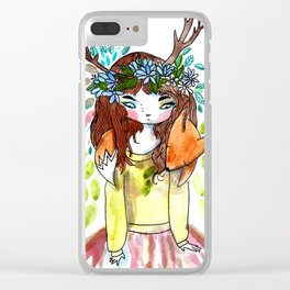 Girl and fox Clear iPhone Case