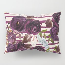 Watercolor ivory purple burgundy brown floral stripes Pillow Sham