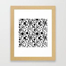 Modern abstract black white floral illustration Framed Art Print