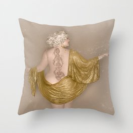 """Golden Goddess"" - The Playful Pinup - Majestic Curvy Pin-up Beauty in Gold by Maxwell H. Johnson Throw Pillow"