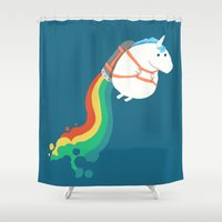 kids Shower Curtains featuring Fat Unicorn on Rainbow Jetpack by Picomodi
