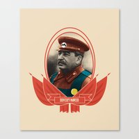 soviet Canvas Prints featuring Soviet Mario by Dogan Kilinc