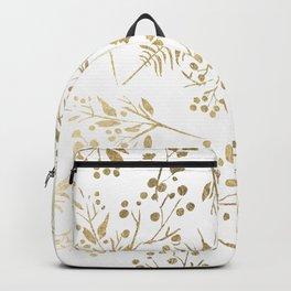 Elegant modern white faux gold floral Backpack