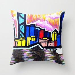 Bright Brisbane City River Throw Pillow