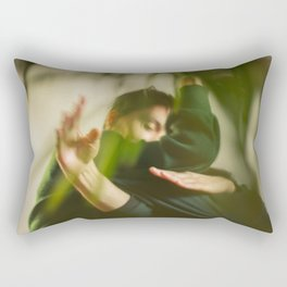 Dancing people, dance, shadows, hands and plants, blurred photography, dancers, forest, yoga Rectangular Pillow